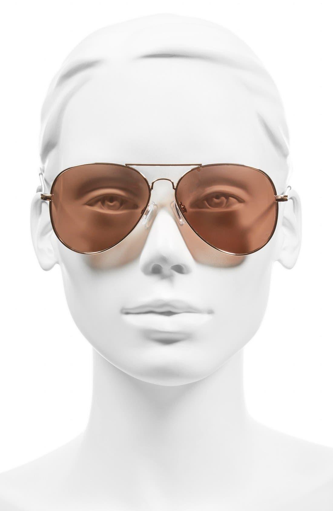 Mirrored Aviator 57mm Sunglasses,                             Alternate thumbnail 2, color,                             Rose Gold