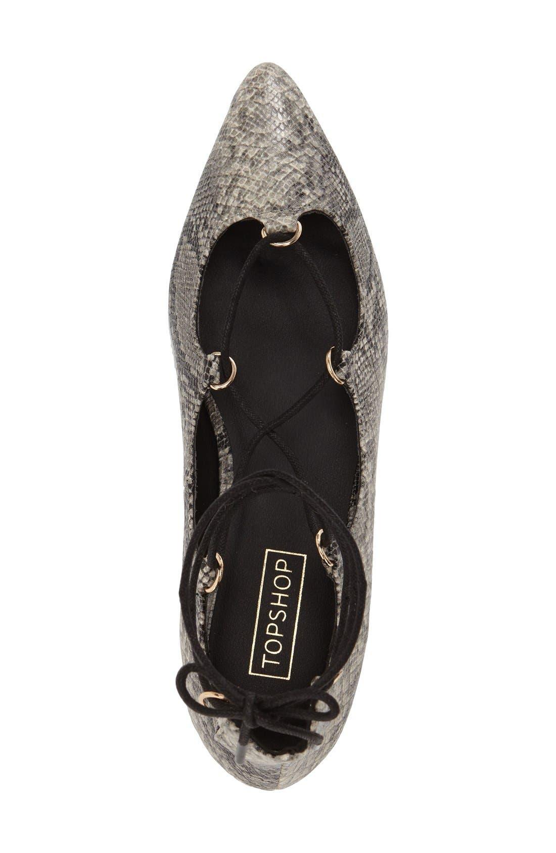 Alternate Image 3  - Topshop 'Fancy' Pointy Toe Ghillie Flat (Women)