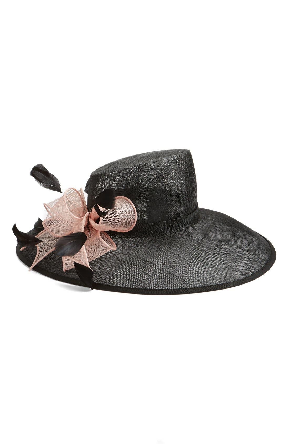 Asymmetrical Sinamay Hat with Flower,                         Main,                         color, Black
