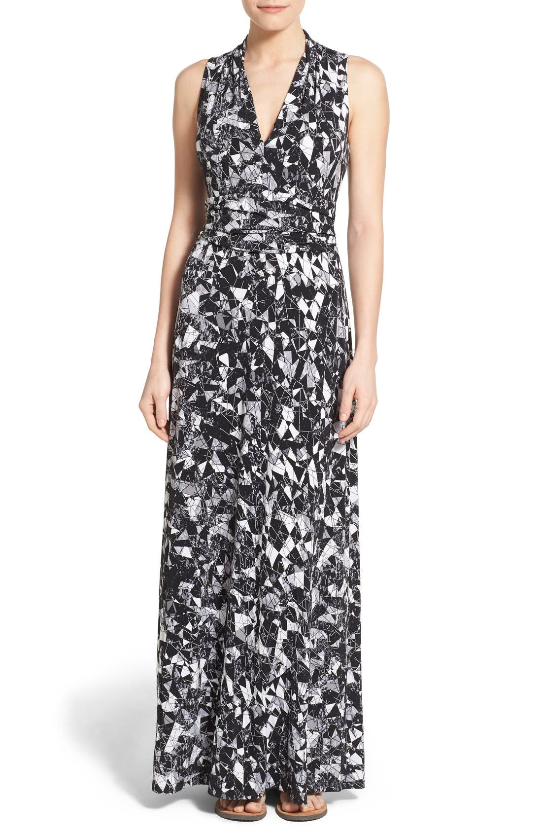 Main Image - Vince Camuto Print Jersey Cutaway Shoulder Maxi Dress (Petite)