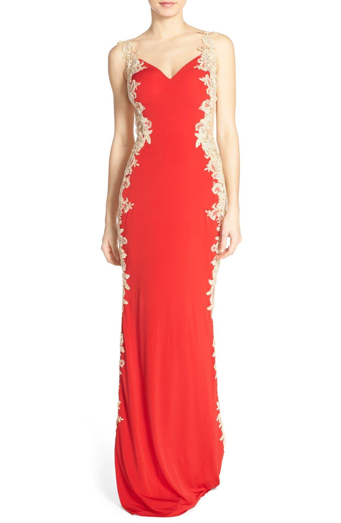 Alternate Image 1 Selected - JVN by Jovani Embellished Sheer Back Gown