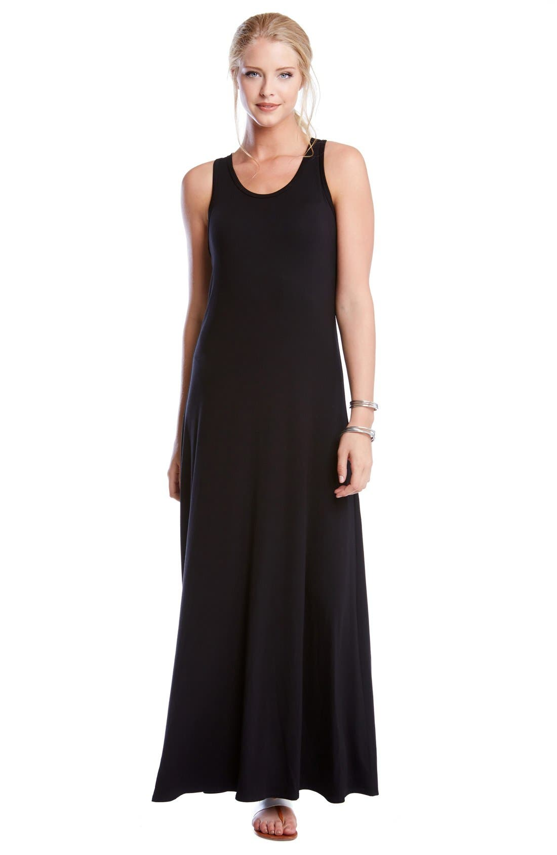 'Tasha' Racerback Jersey Maxi Dress,                             Alternate thumbnail 2, color,                             Black