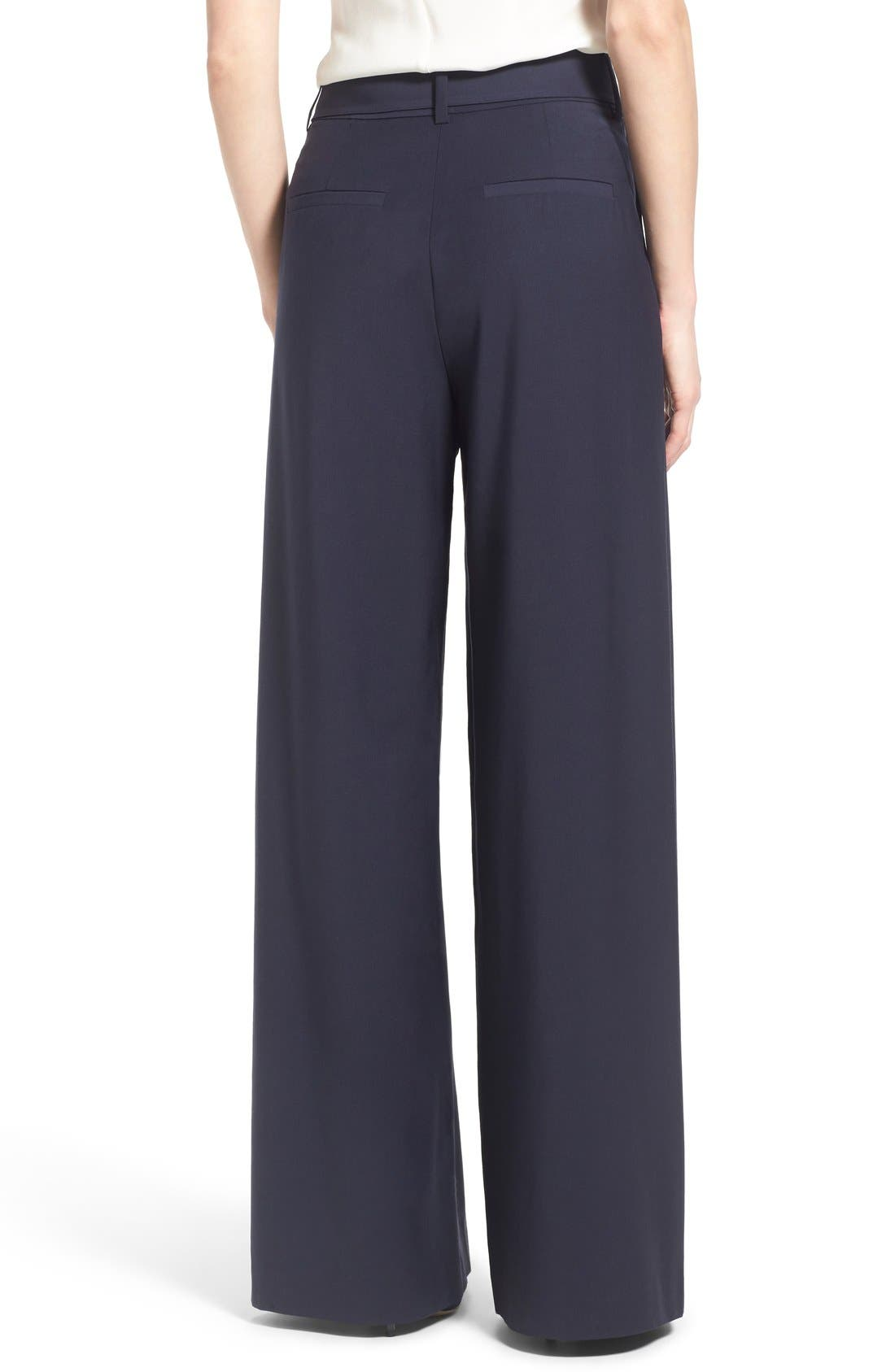 Pleat Front Trousers,                             Alternate thumbnail 3, color,                             Navy Evening