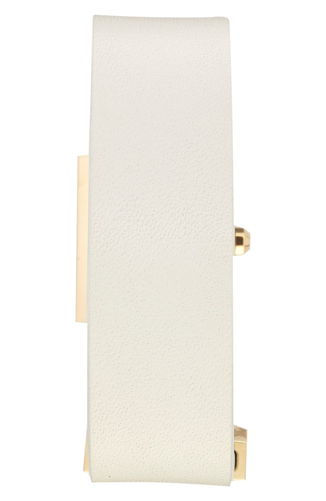 'Surrey' Leather Strap Watch, 22mm x 24mm,                             Alternate thumbnail 3, color,                             Ivory/ Gold