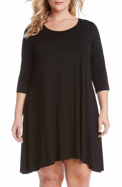 Karen Kane 'Maggie' Three Quarter Sleeve Trapeze Dress (Plus Size)