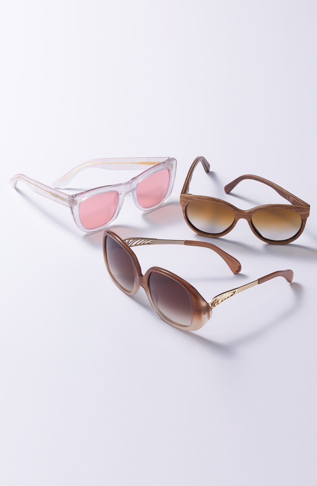'Madison' 54mm Round Wood Sunglasses,                             Alternate thumbnail 2, color,