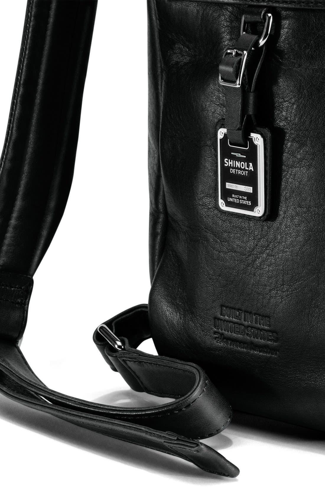 Runwell Leather Laptop Backpack,                             Alternate thumbnail 10, color,                             Black