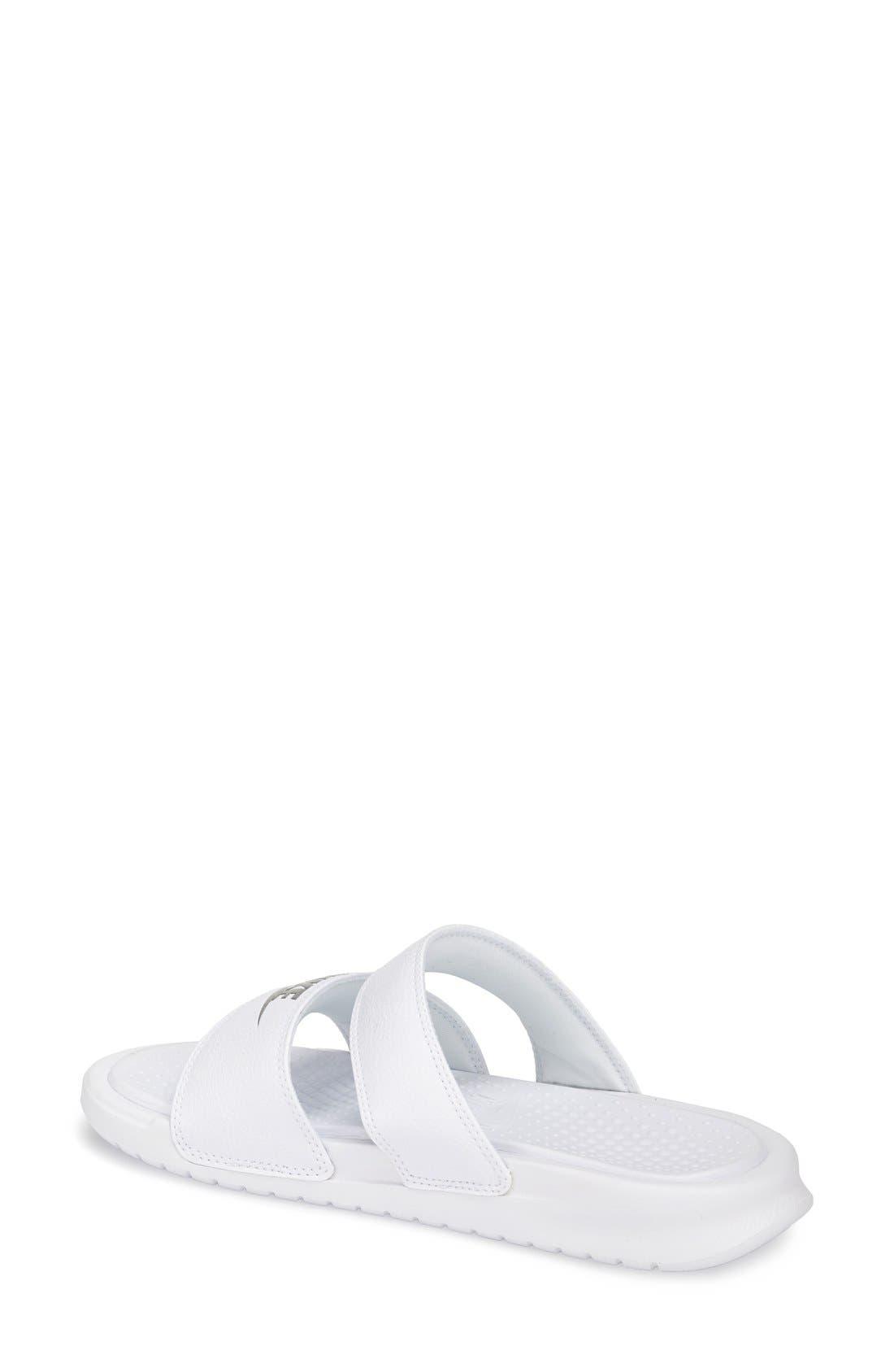 'Benassi - Ultra' Slide Sandal,                             Alternate thumbnail 2, color,                             White/ Metallic Silver
