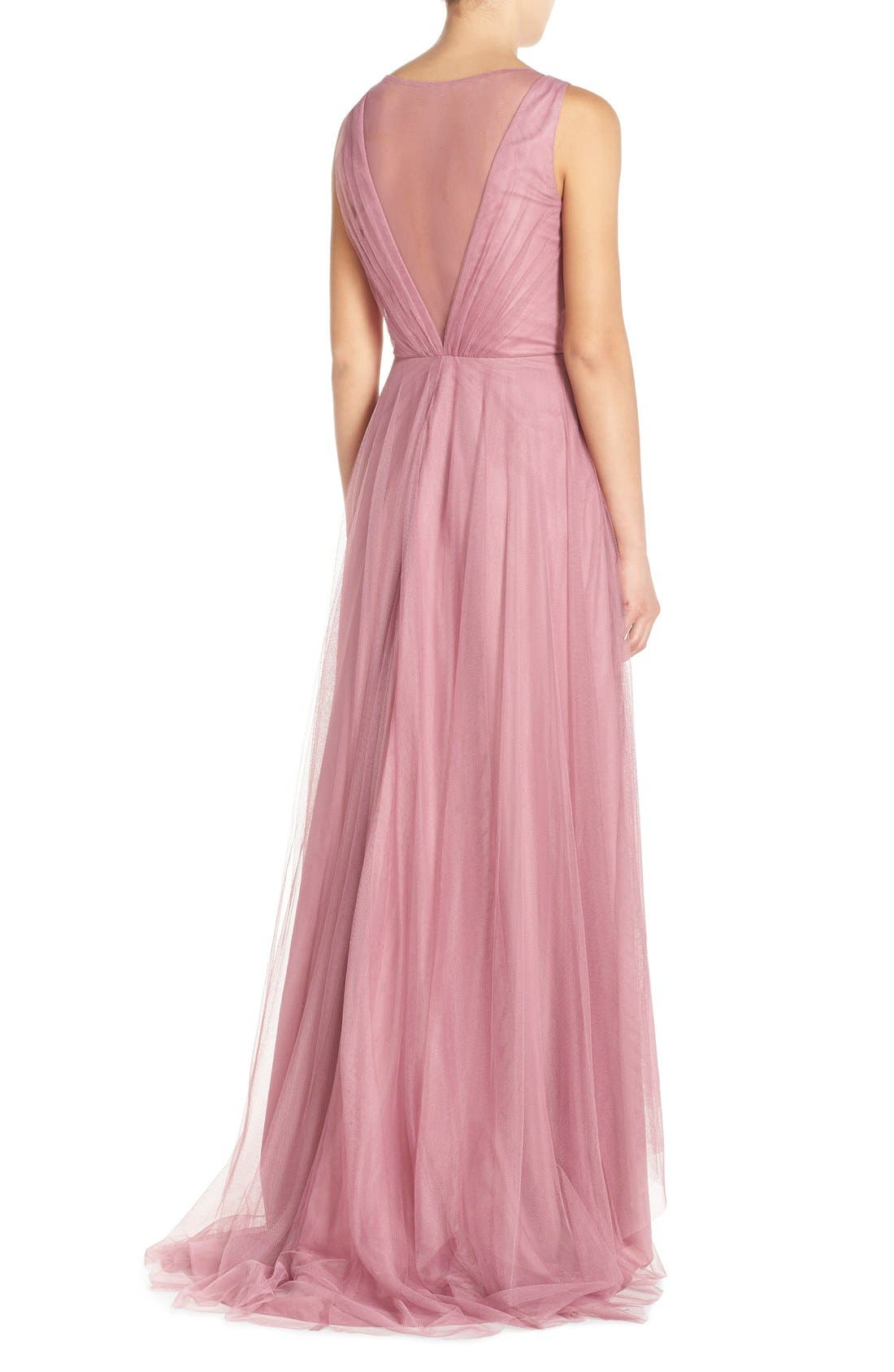 Pleat Tulle V-Neck High/Low Gown,                             Alternate thumbnail 3, color,                             Cerise