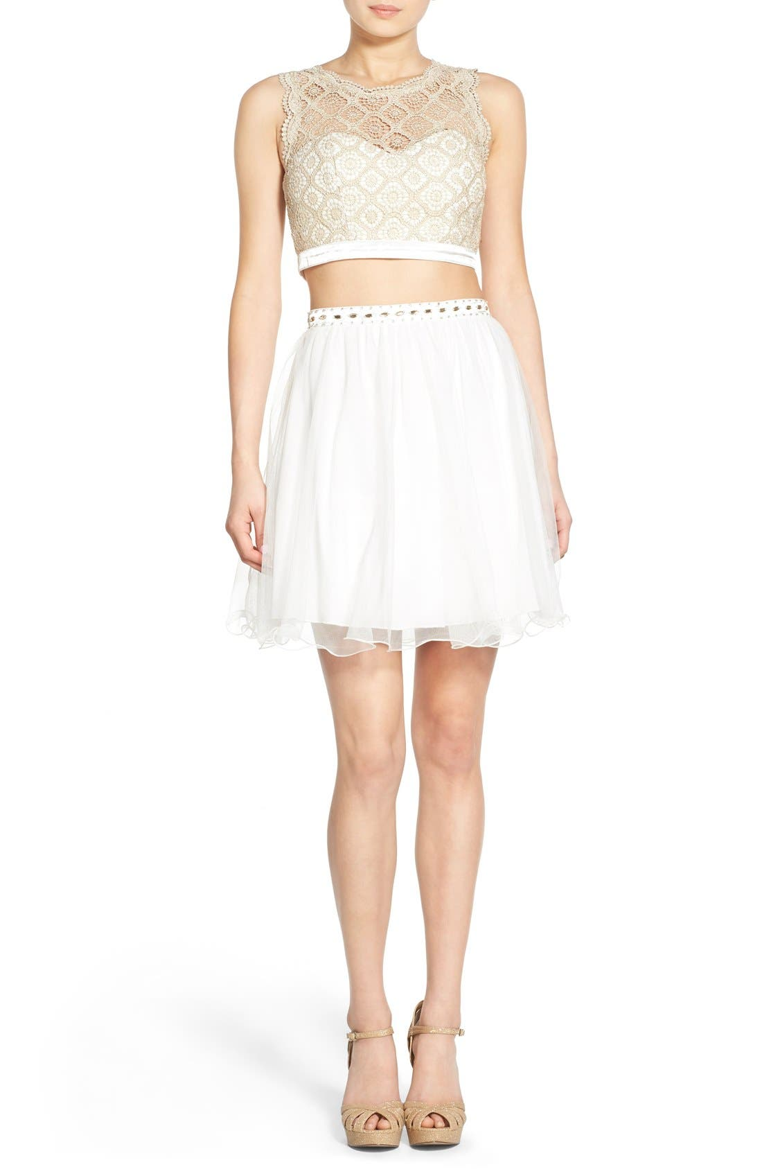 Main Image - Sequin Hearts Crochet Lace Two-Piece Dress