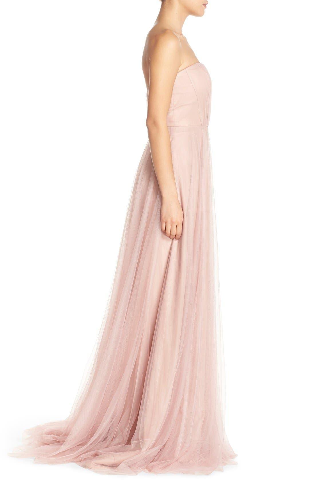 Alternate Image 3  - Monique Lhuillier Bridesmaids Strapless Tulle Gown