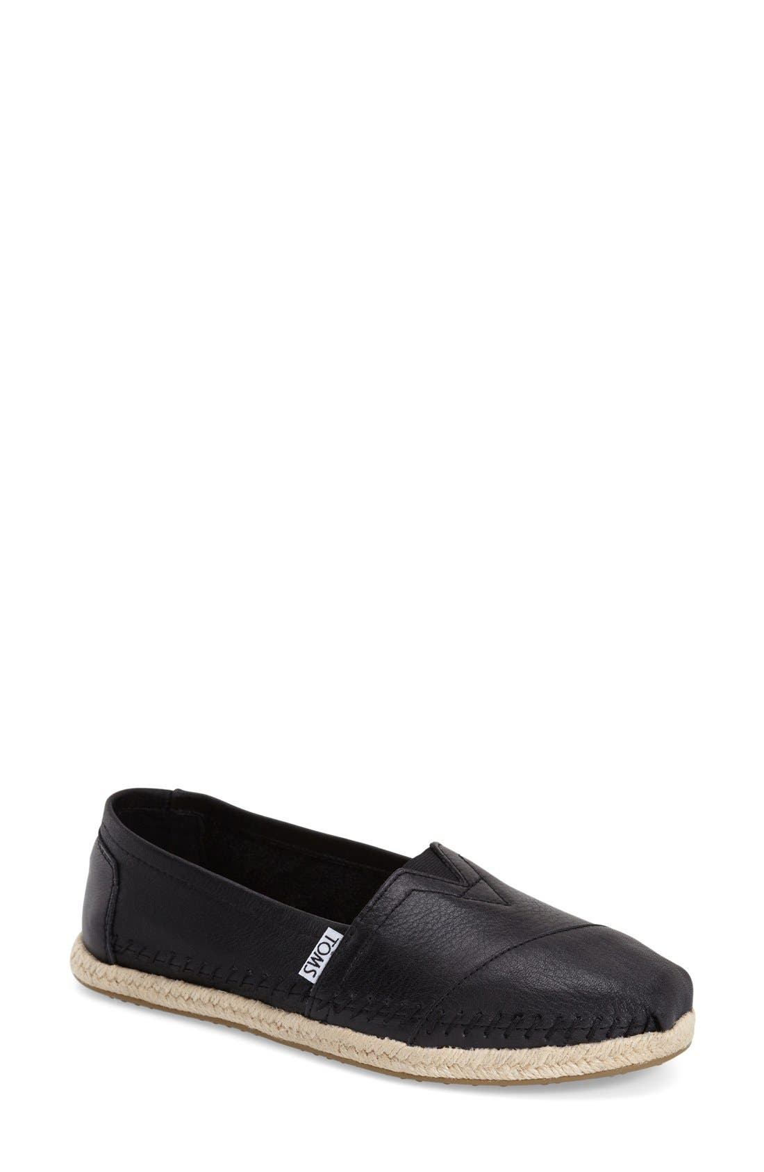 TOMS 'Classic - Leather' Espadrille Slip-On (Women)