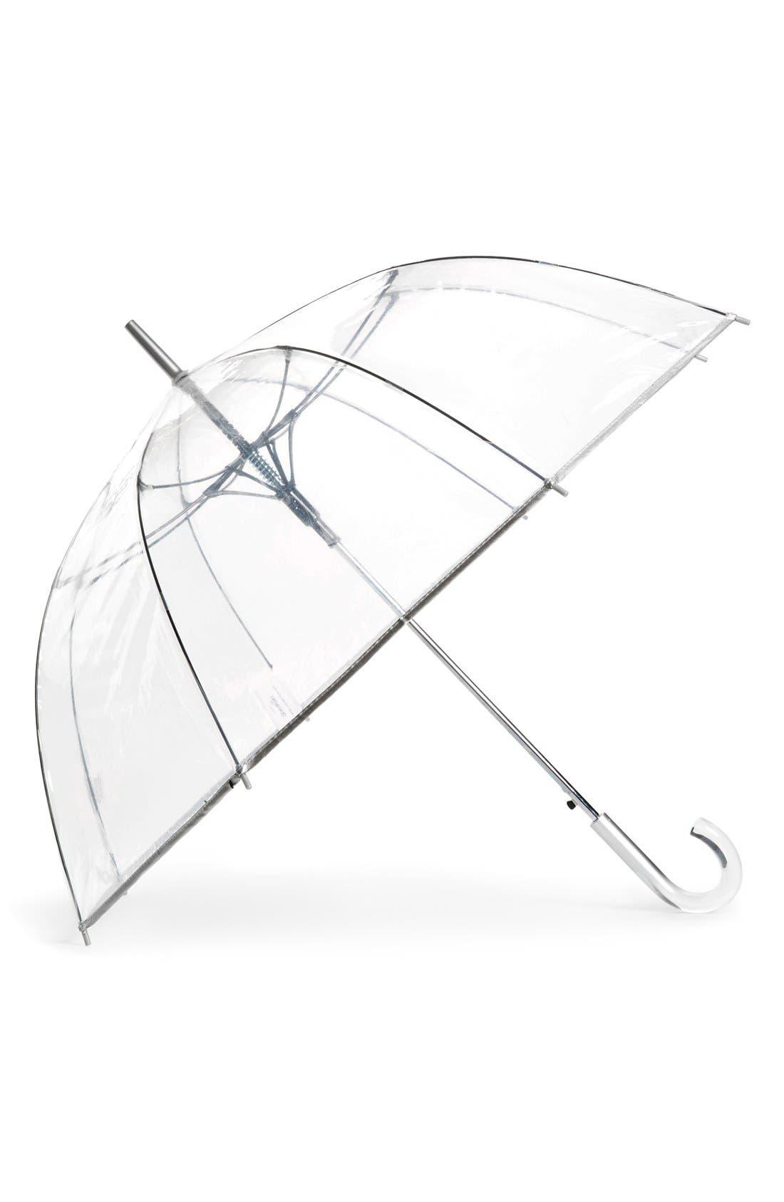 Auto Open Stick Clear Dome Umbrella,                             Main thumbnail 1, color,                             Clear Silver