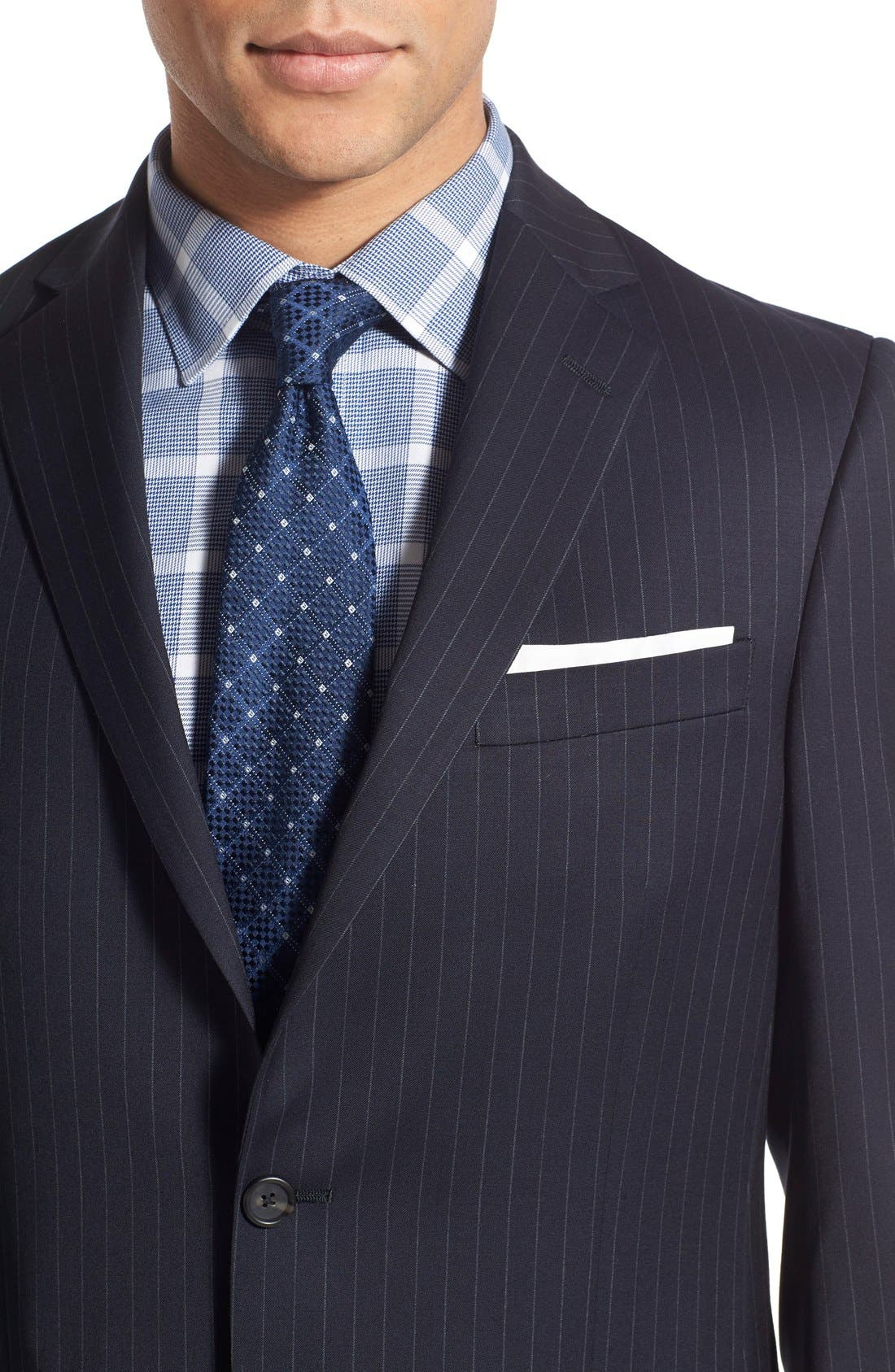 New York Classic Fit Stripe Wool Suit,                             Alternate thumbnail 5, color,                             Navy