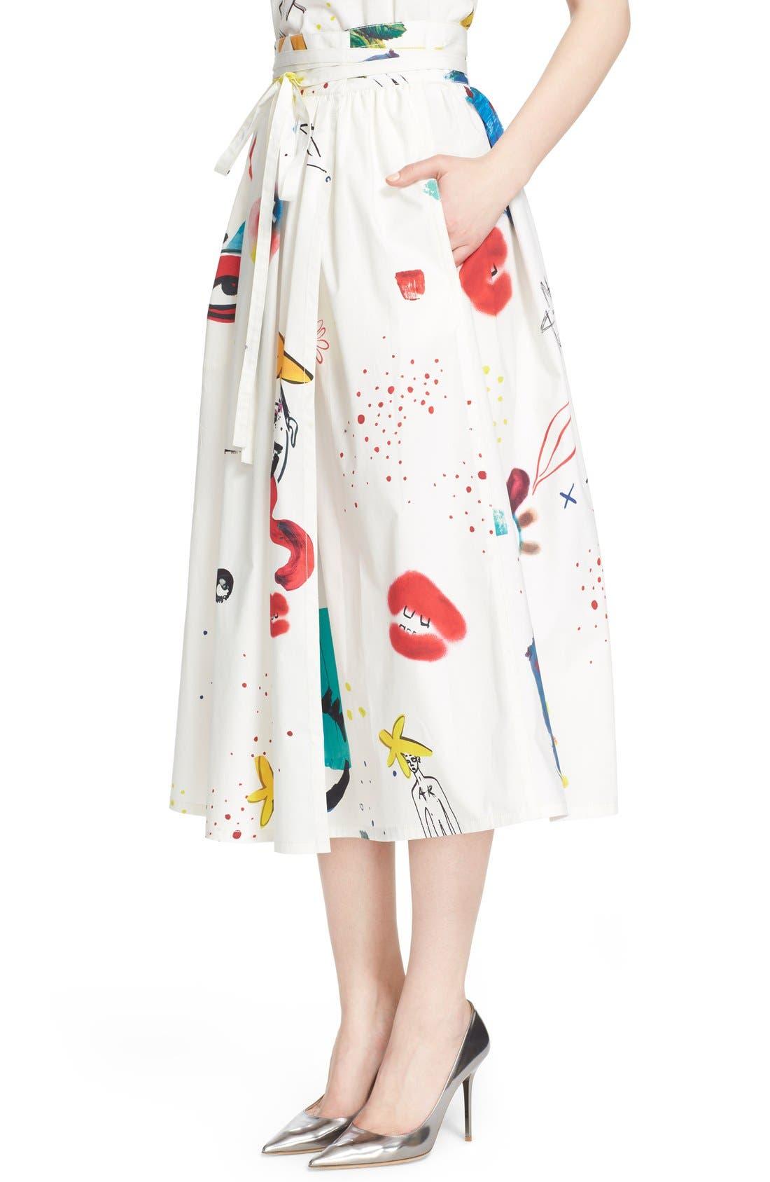Collage Print Wrap Midi Skirt,                             Alternate thumbnail 6, color,                             Multi