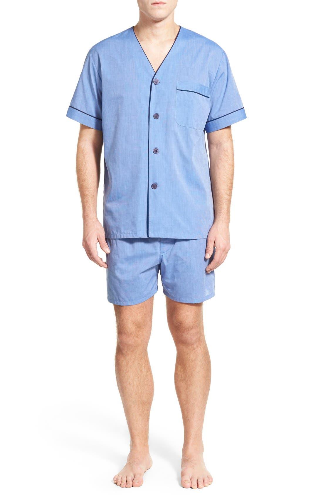 Cotton Blend Pajamas,                         Main,                         color, Blue