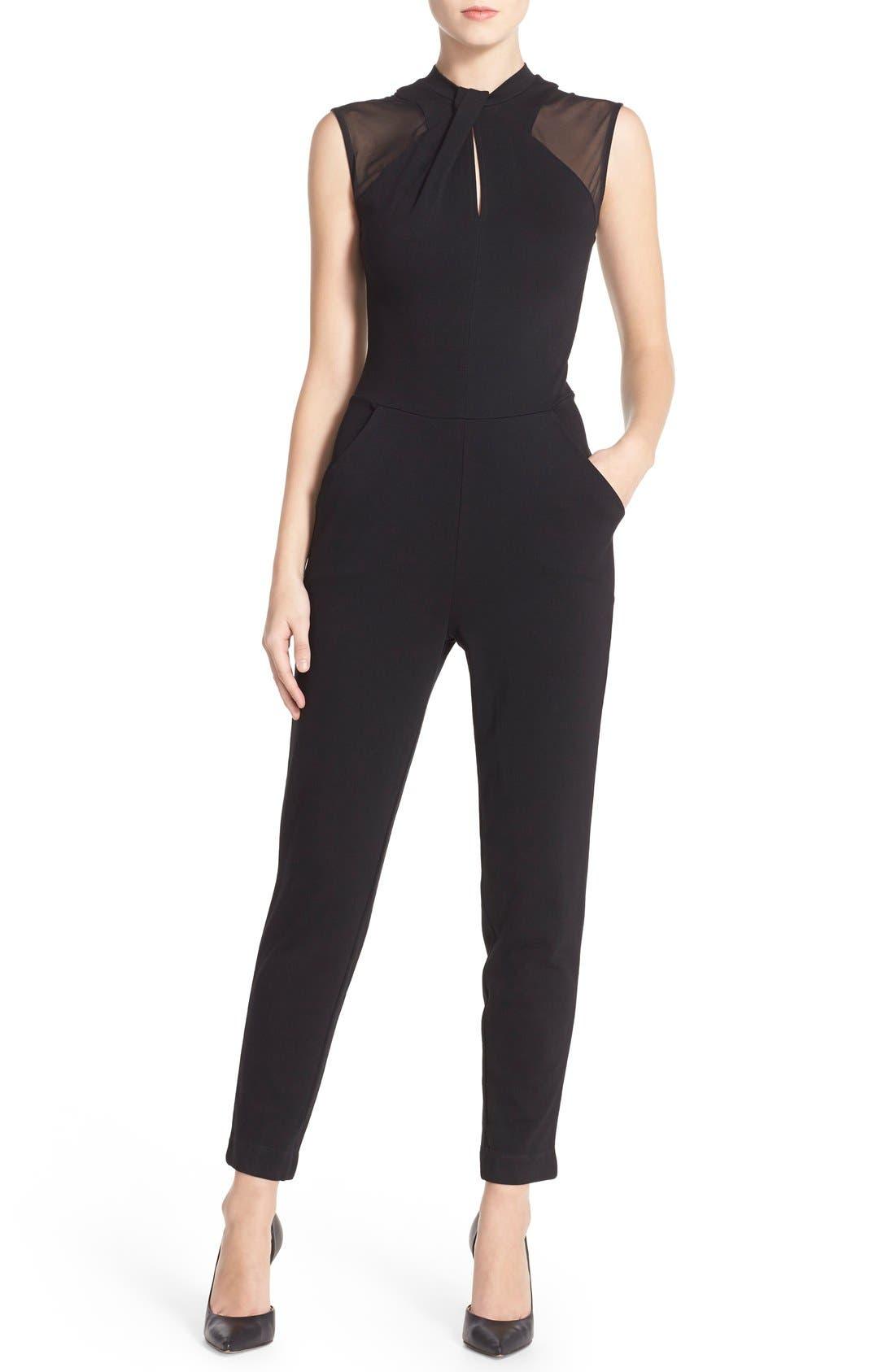 'Tania' Mesh Insets Jumpsuit,                             Main thumbnail 1, color,                             Black