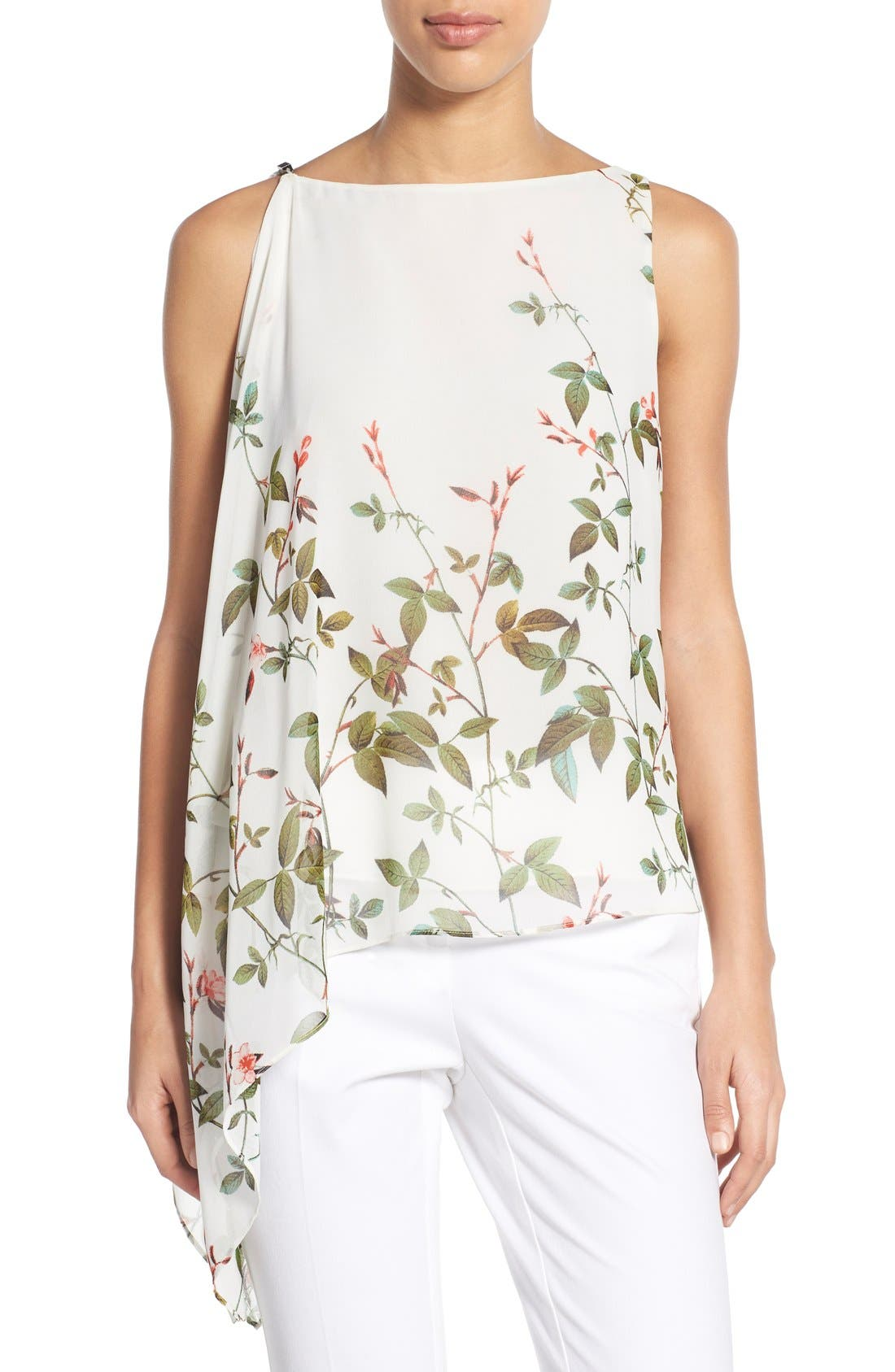 Alternate Image 1 Selected - Adrianna Papell Floral Print Asymmetrical Chiffon Blouse