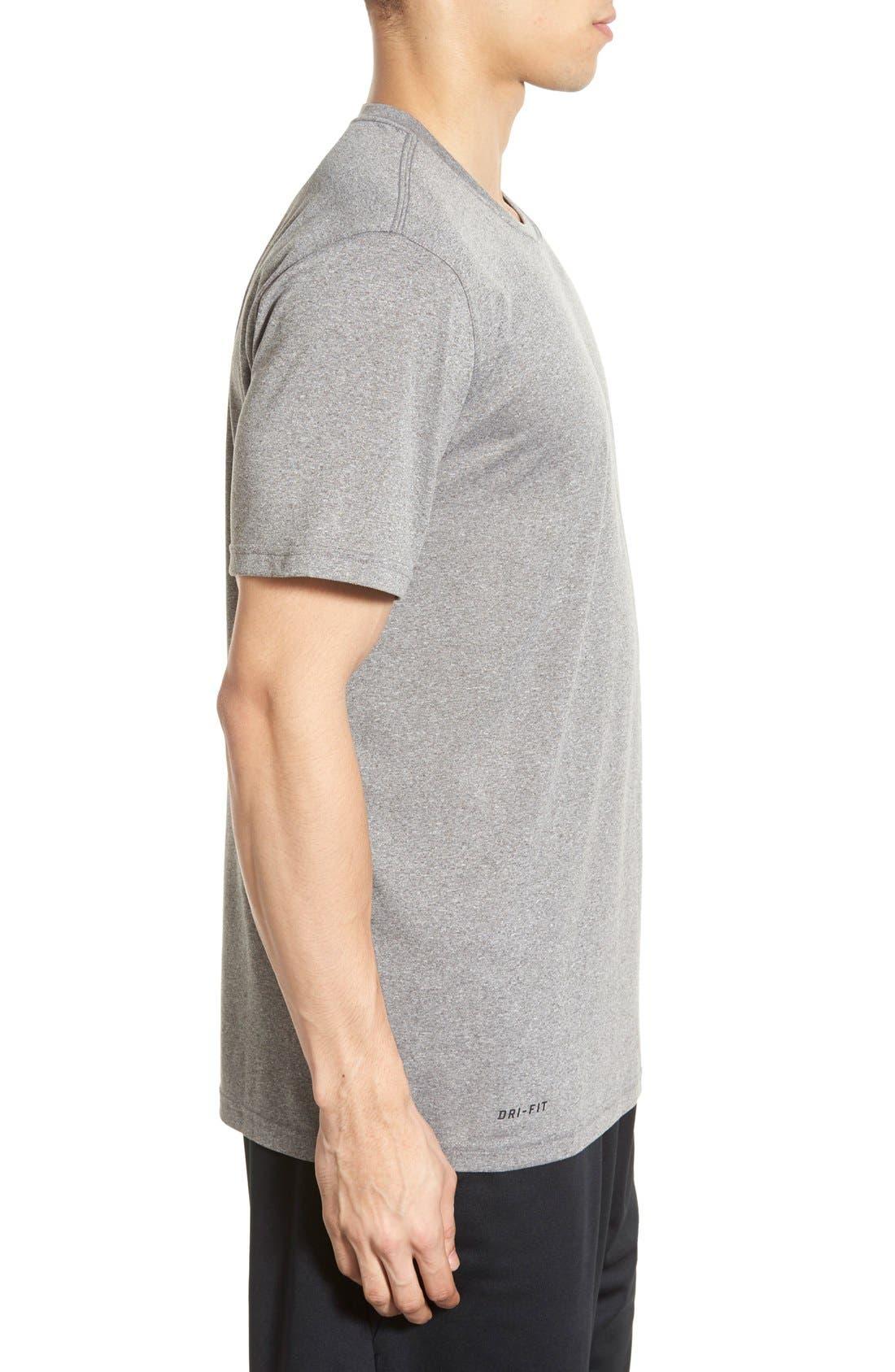 'Legend 2.0' Dri-FIT Training T-Shirt,                             Alternate thumbnail 3, color,                             Carbon Heather/ Black
