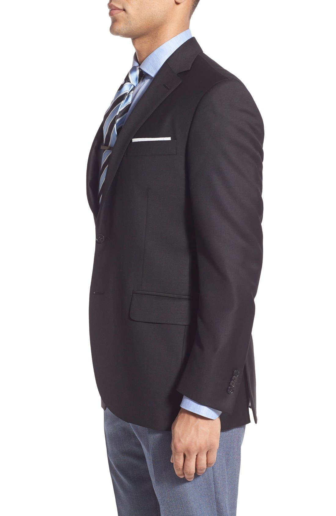 'Flynn' Classic Fit Wool Blazer,                             Alternate thumbnail 3, color,                             Black