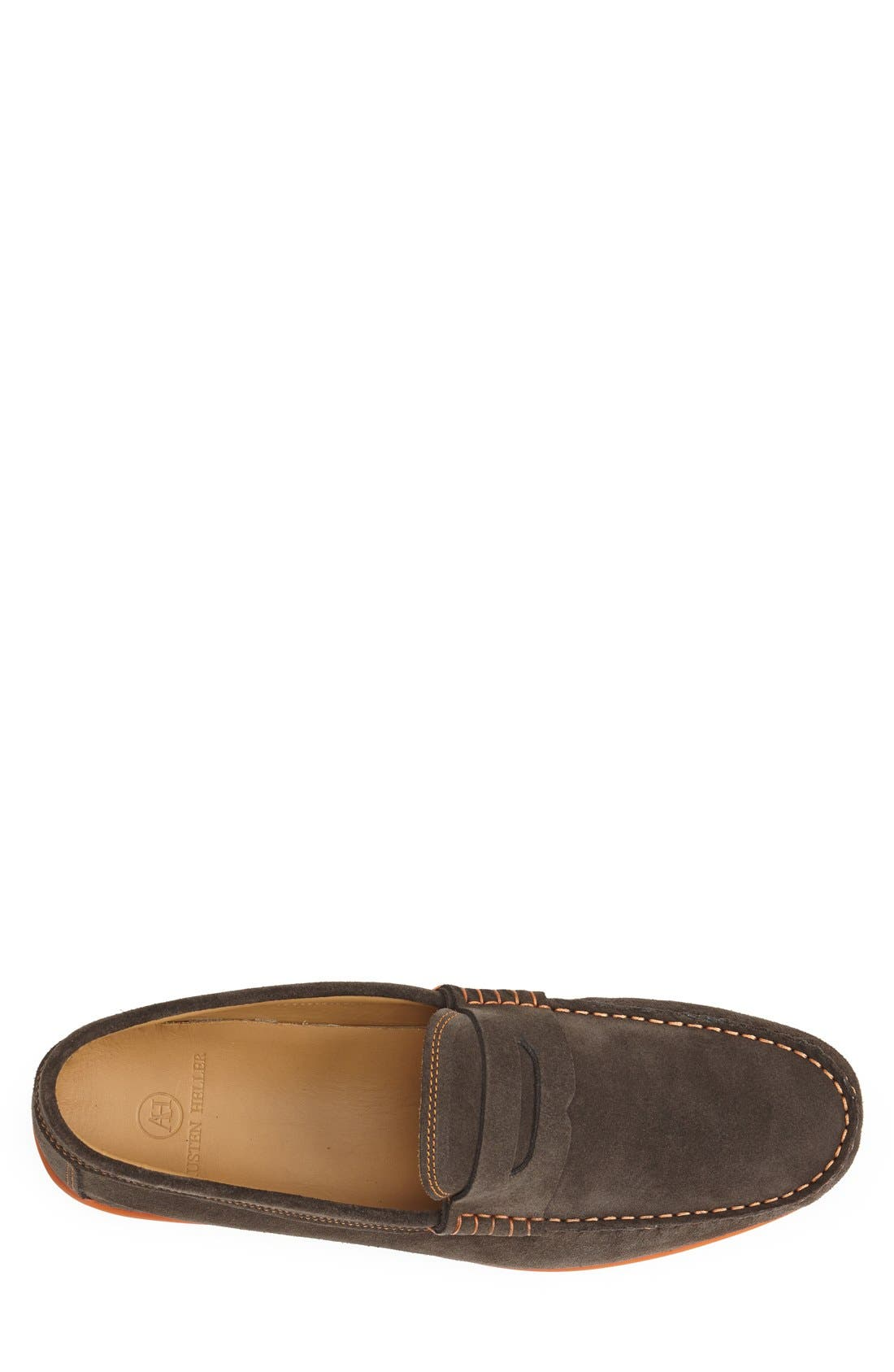 'North Sides' Penny Loafer,                             Alternate thumbnail 3, color,                             Brown Suede/ Orange