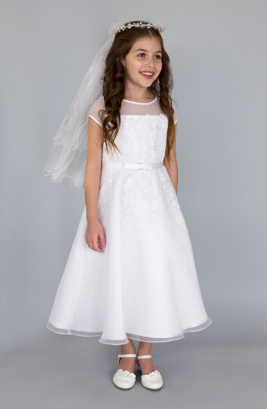 Main Image - Us Angels Illusion Neckline Fit & Flare Dress (Little Girls & Big Girls)