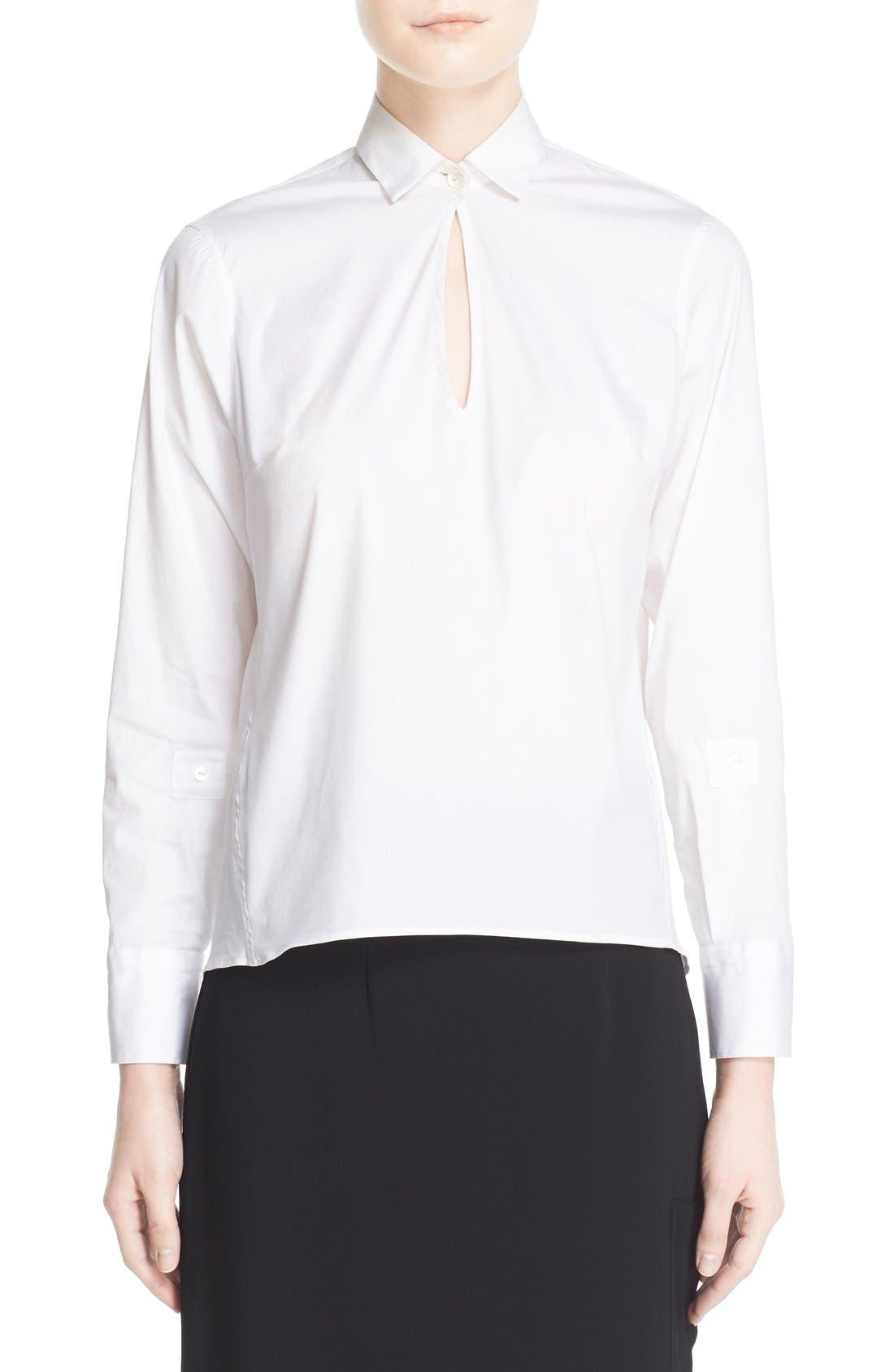 Keyhole Neck Poplin Shirt,                             Main thumbnail 1, color,                             White