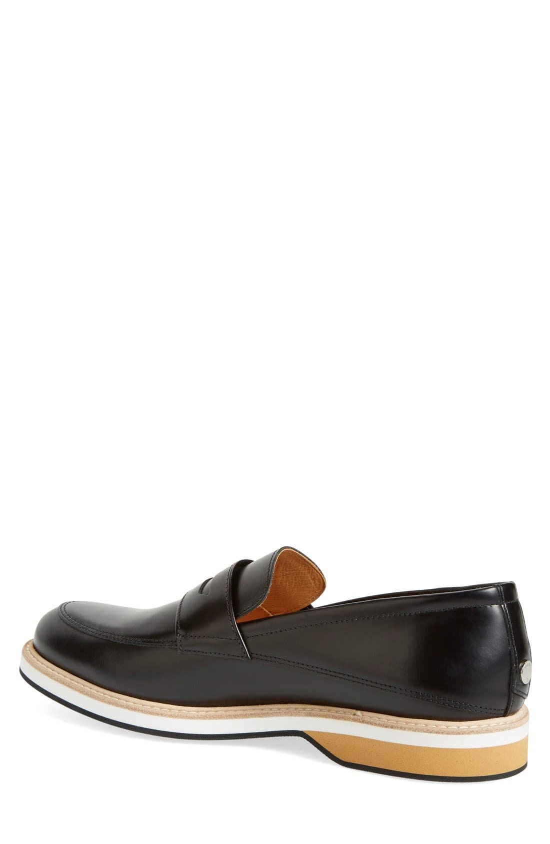 'Marcos' Loafer,                             Alternate thumbnail 2, color,                             Black Leather