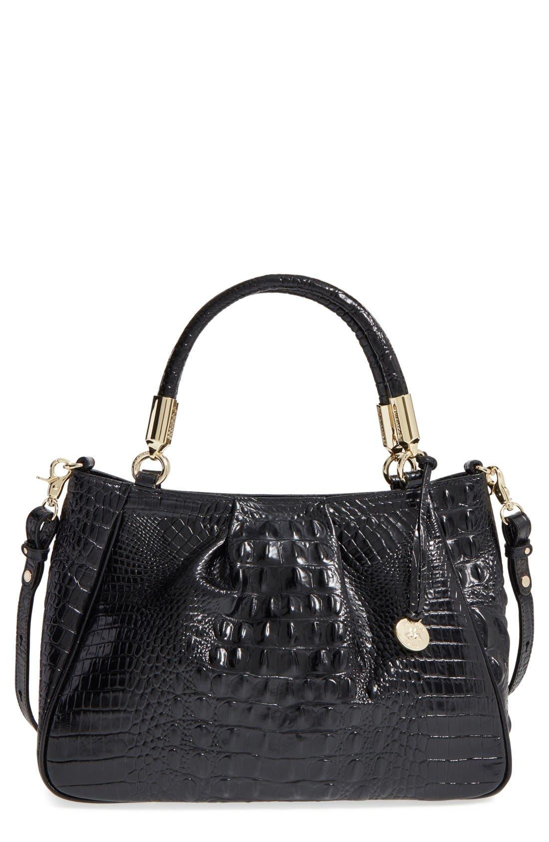 Ruby Croc Embossed Leather Satchel,                         Main,                         color, Black
