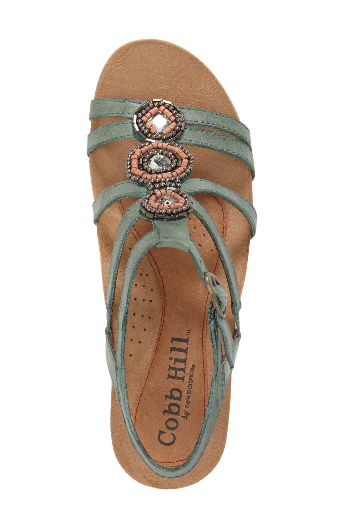 'Hannah' Leather Sandal,                             Alternate thumbnail 3, color,                             Teal Leather
