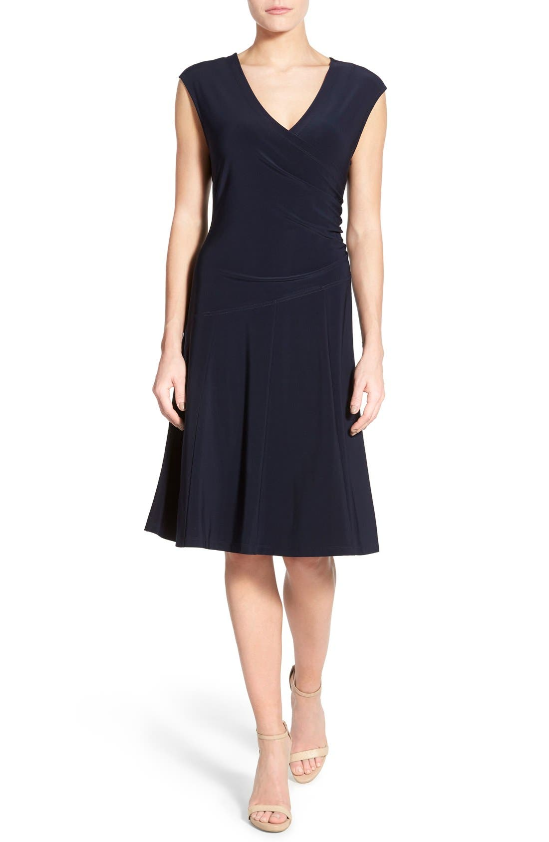 Matte Jersey Faux Wrap Fit & Flare Dress,                             Main thumbnail 1, color,                             Midnight