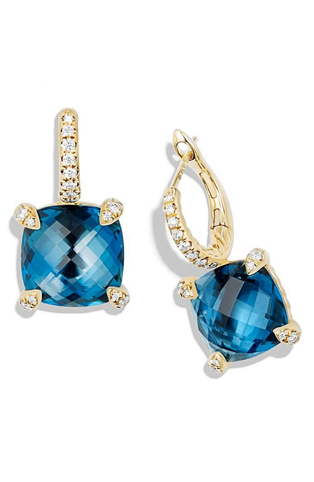 Alternate Image 2  - David Yurman 'Chatelaine' Hampton Blue Topaz and Diamonds in 18K Gold