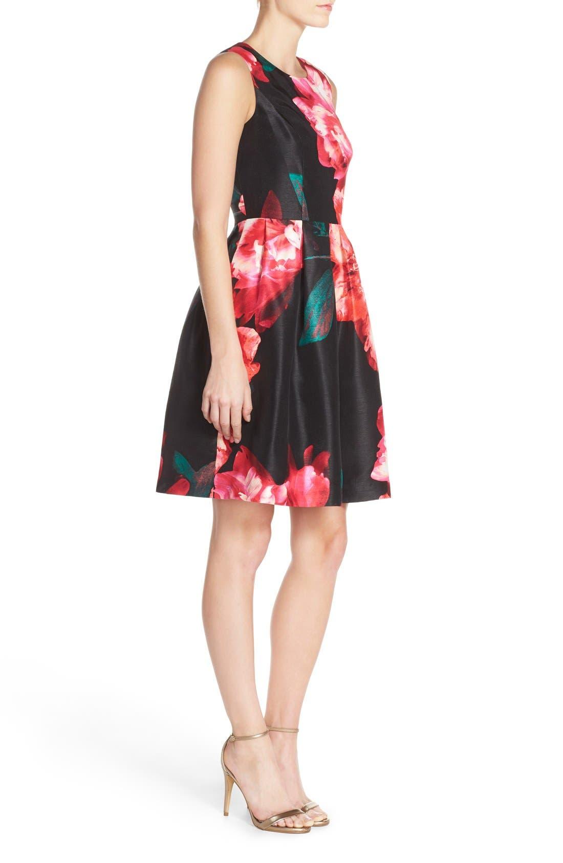 Alternate Image 3  - Donna Ricco Floral Shantung Fit & Flare Dress