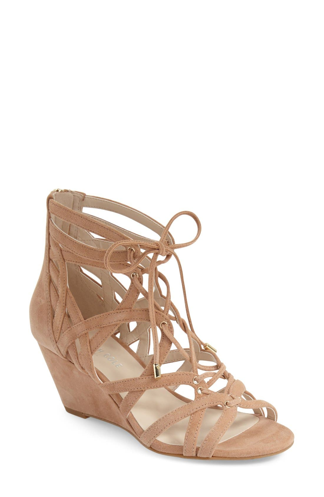 'Dylan' Wedge Sandal,                             Main thumbnail 1, color,                             Buff Suede