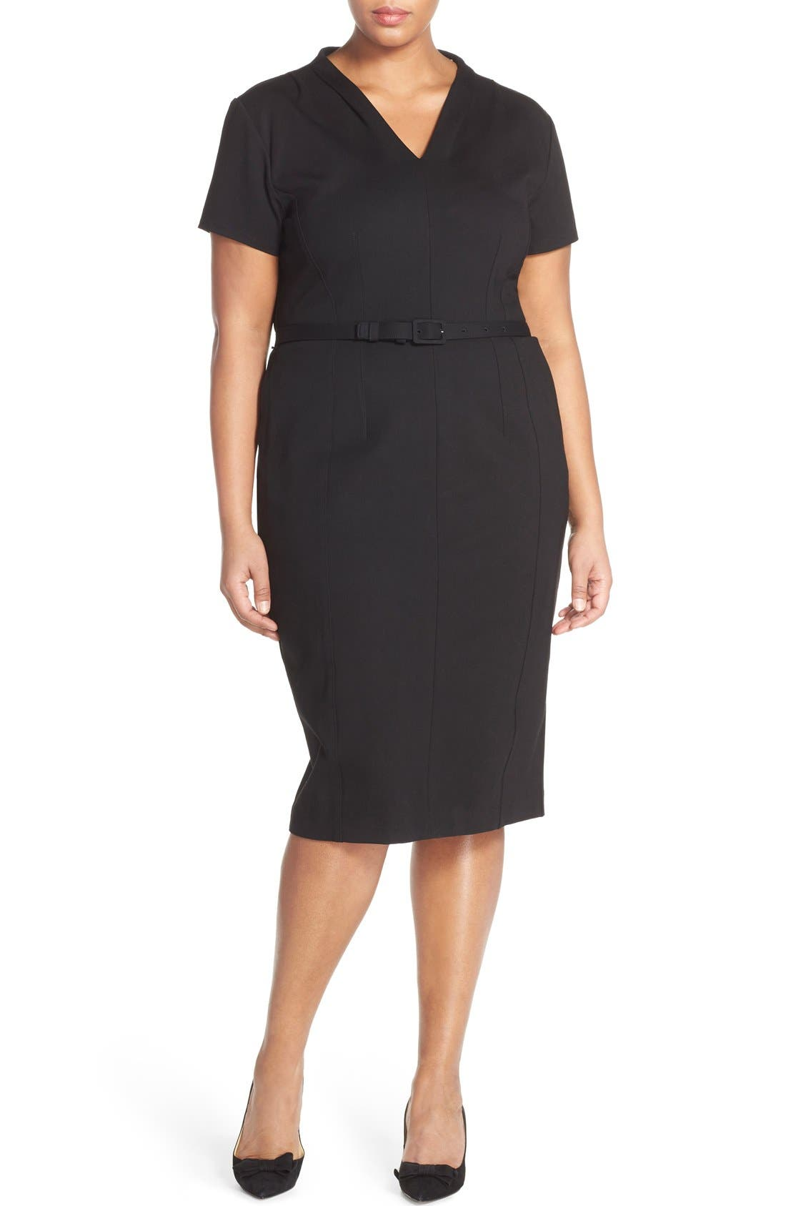 Sejour Belted Ponte V-Neck Sheath Dress (Plus Size)