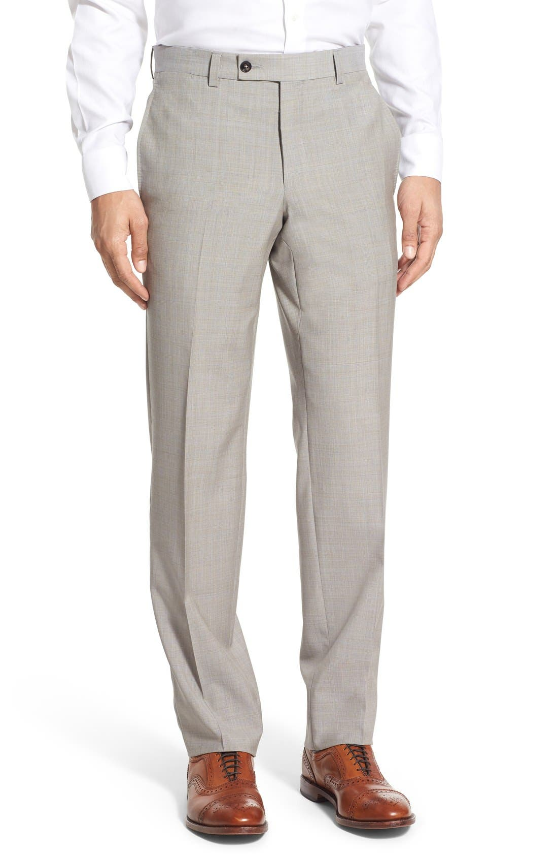 'Jefferson' Flat Front Solid Wool Trousers,                             Main thumbnail 1, color,                             Tan
