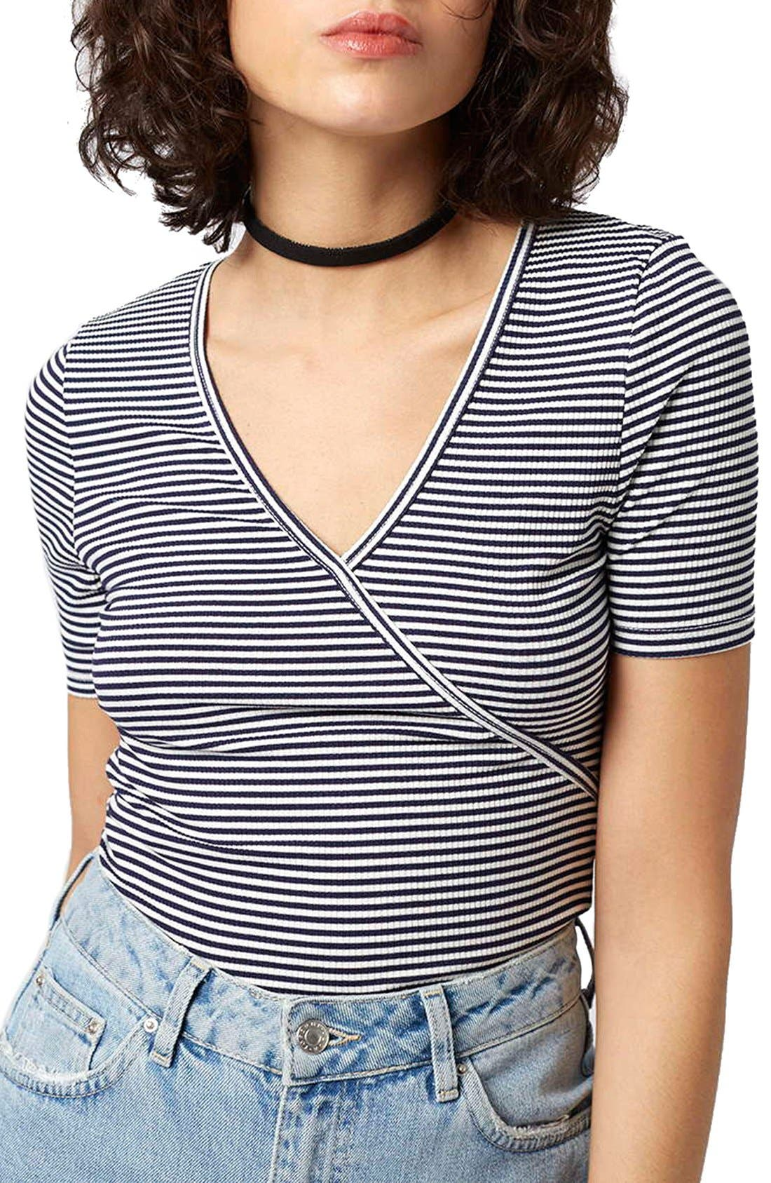 Main Image - Topshop Stripe Surplice Jersey Bodysuit