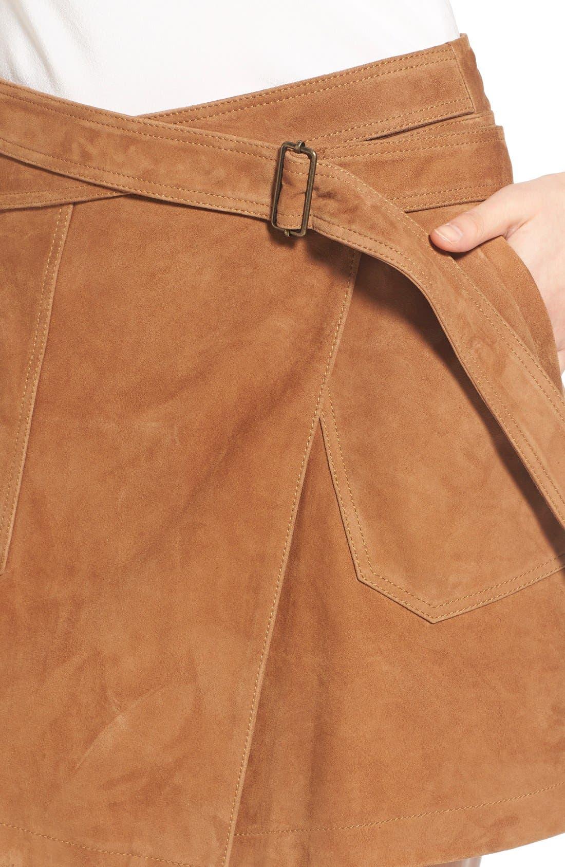 Suede Wrap Miniskirt,                             Alternate thumbnail 5, color,                             Tan Cognac