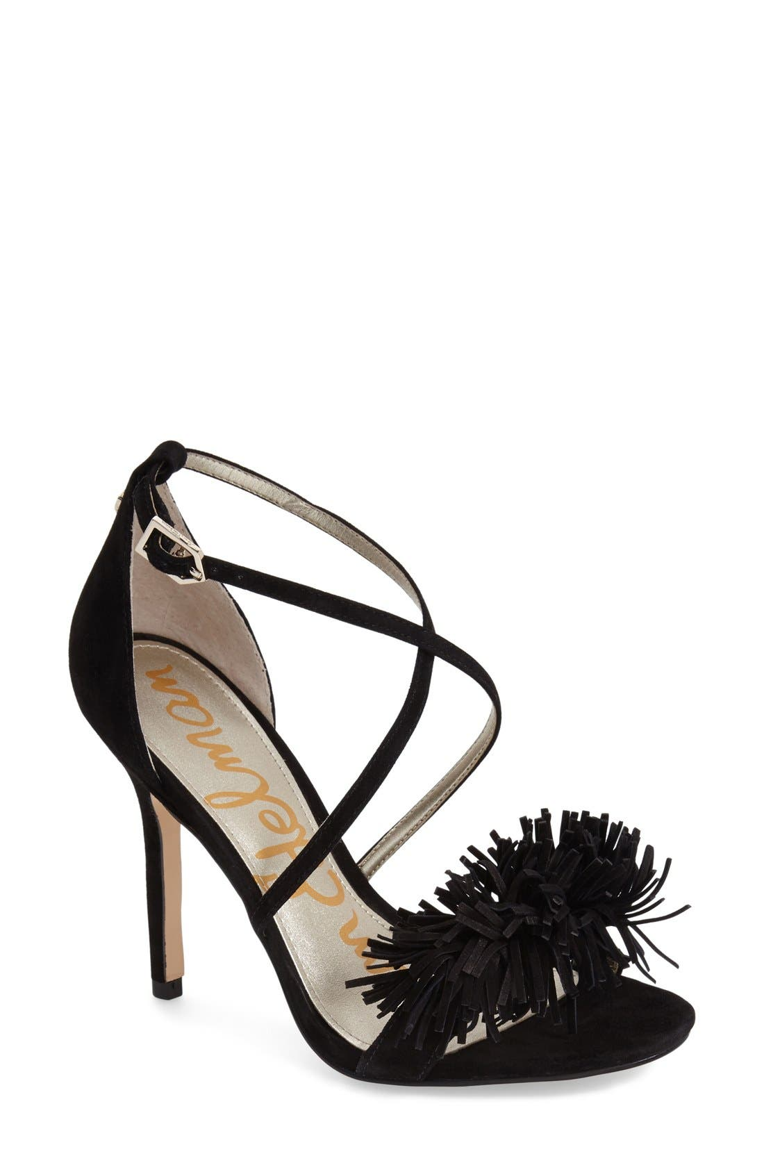 'Aisha' Fringe Sandal,                             Main thumbnail 1, color,                             Black Leather