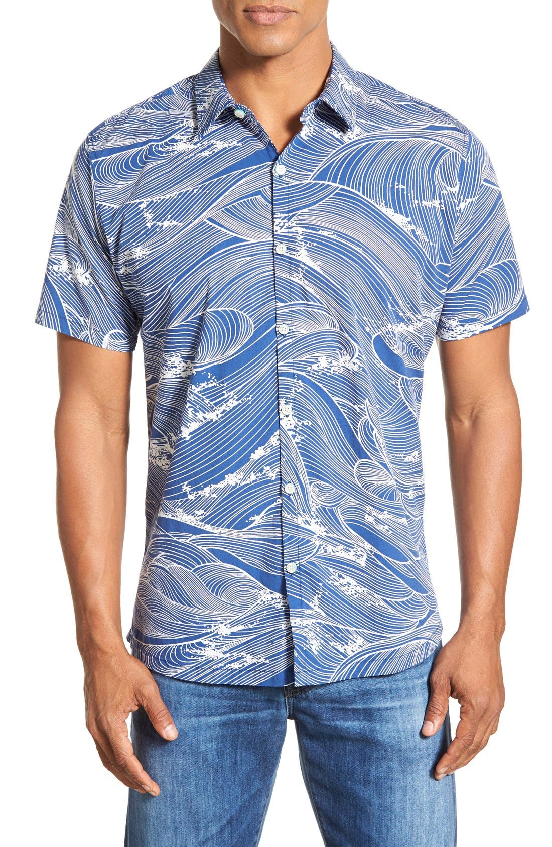 'Ocean's 11' Classic Fit Cotton Lawn Sport Shirt,                         Main,                         color, Midnight