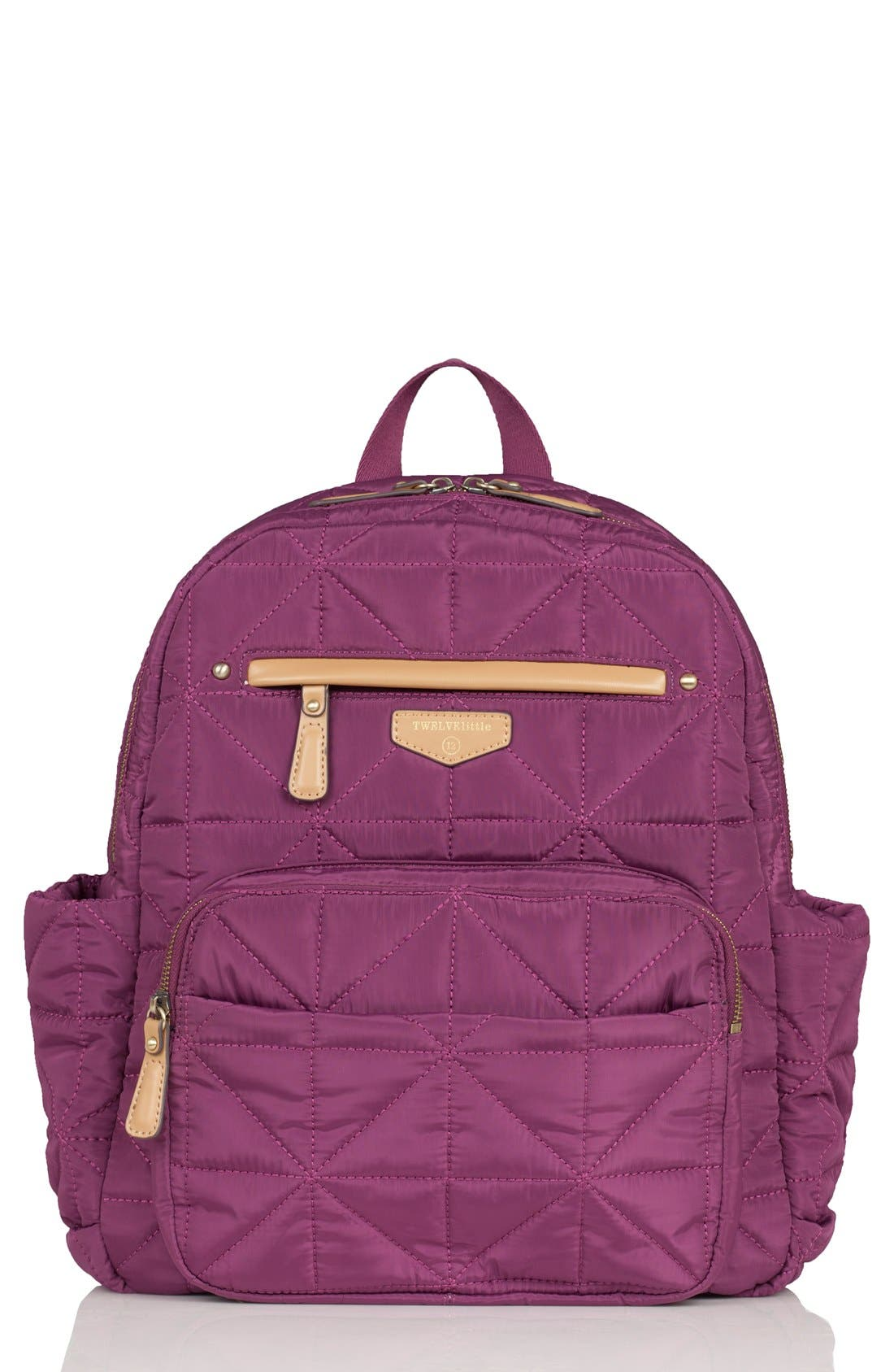 Quilted Water Resistant Nylon Diaper Backpack,                         Main,                         color, Plum