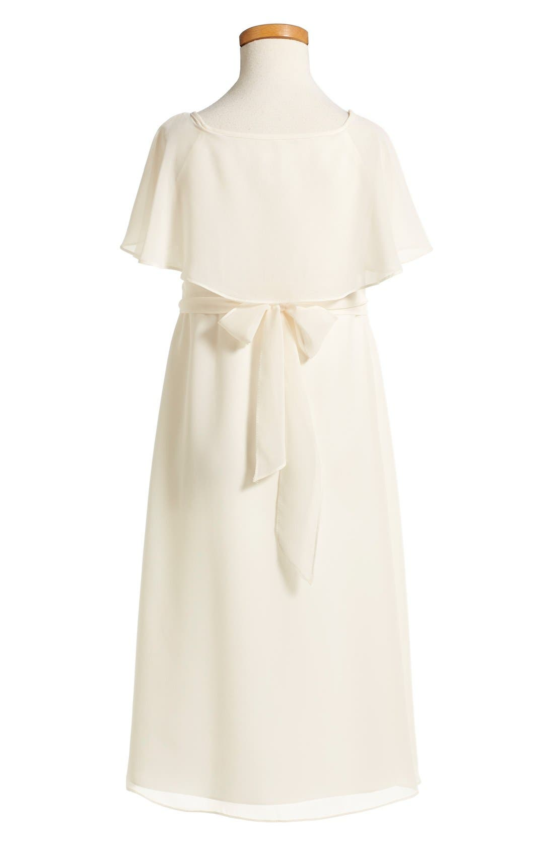 Flutter Sleeve Long Chiffon A-Line Dress,                             Alternate thumbnail 3, color,                             Going To The Chapel