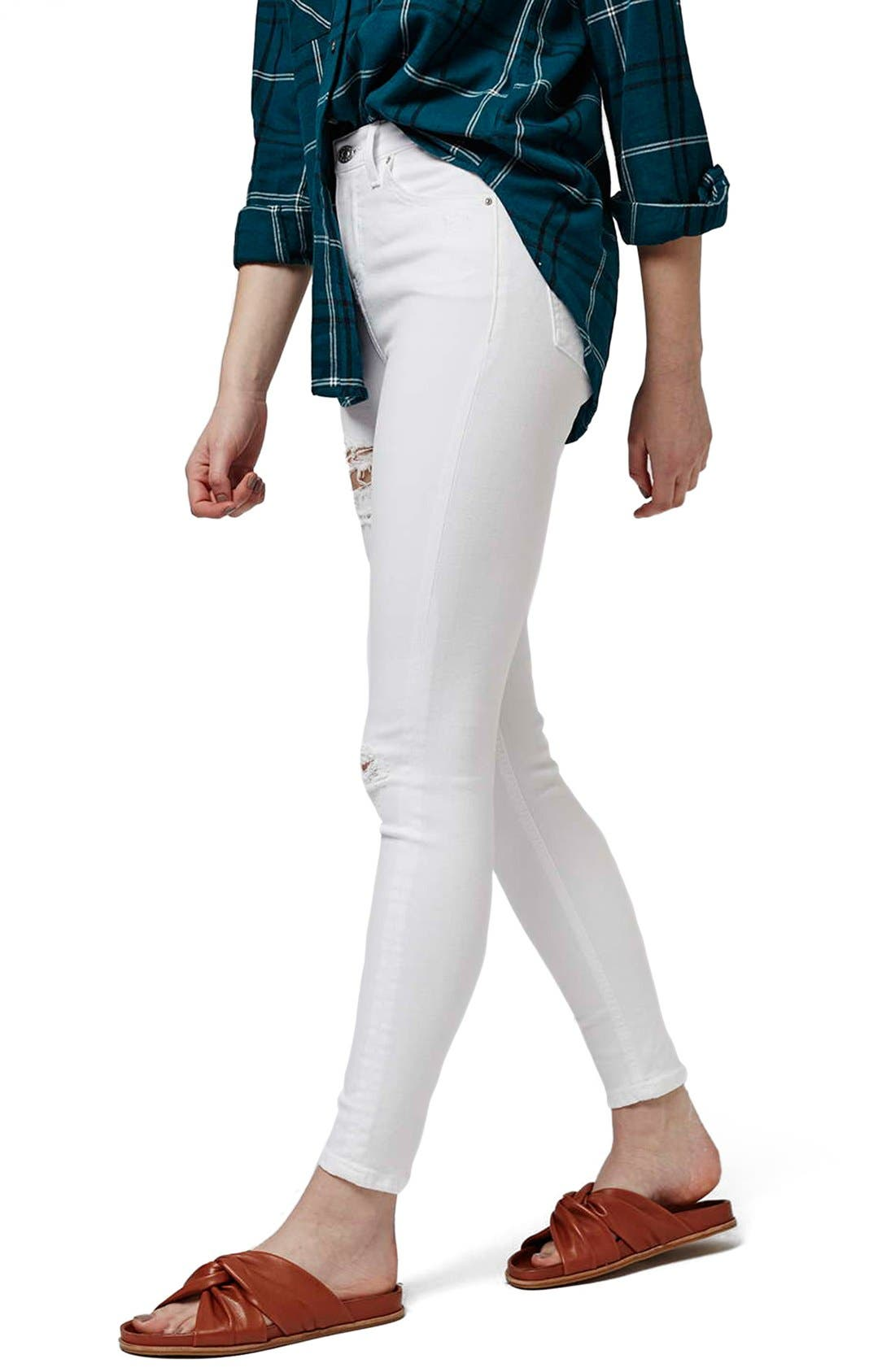 'Jamie - Super Ripped' High Waist Skinny Jeans,                         Main,                         color, White