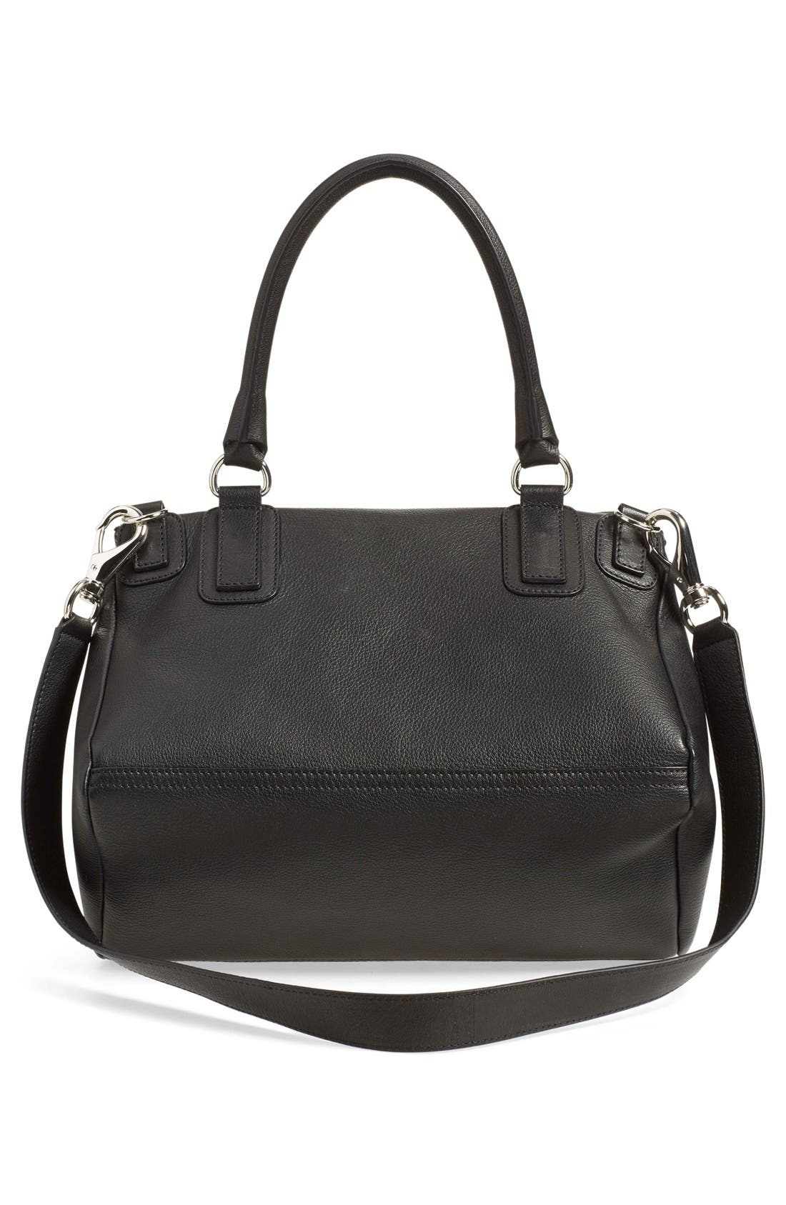 'Medium Pandora' Sugar Leather Satchel,                             Alternate thumbnail 3, color,                             Black