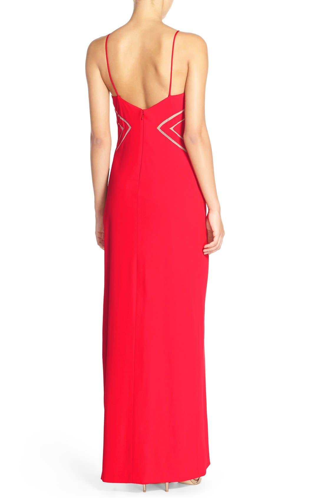 Alternate Image 2  - Aidan Mattox Mesh Inset Jersey Gown