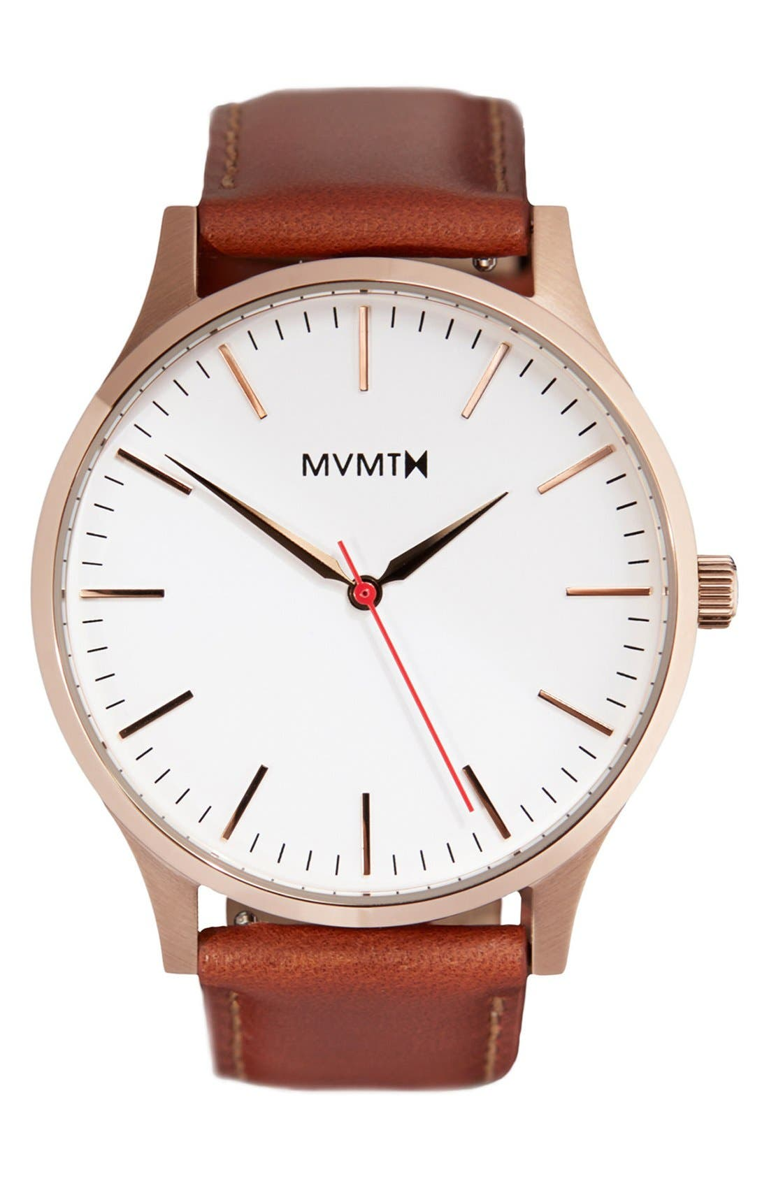 Leather Strap Watch, 40mm,                         Main,                         color, Natural/ Rose Gold/ White