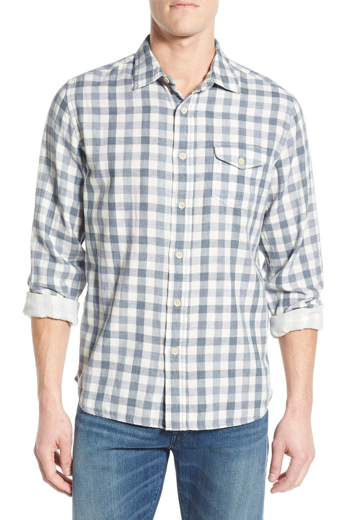 'Denby' Trim Fit Double Woven Sport Shirt,                         Main,                         color, Heather Blue/ Cream Gingham
