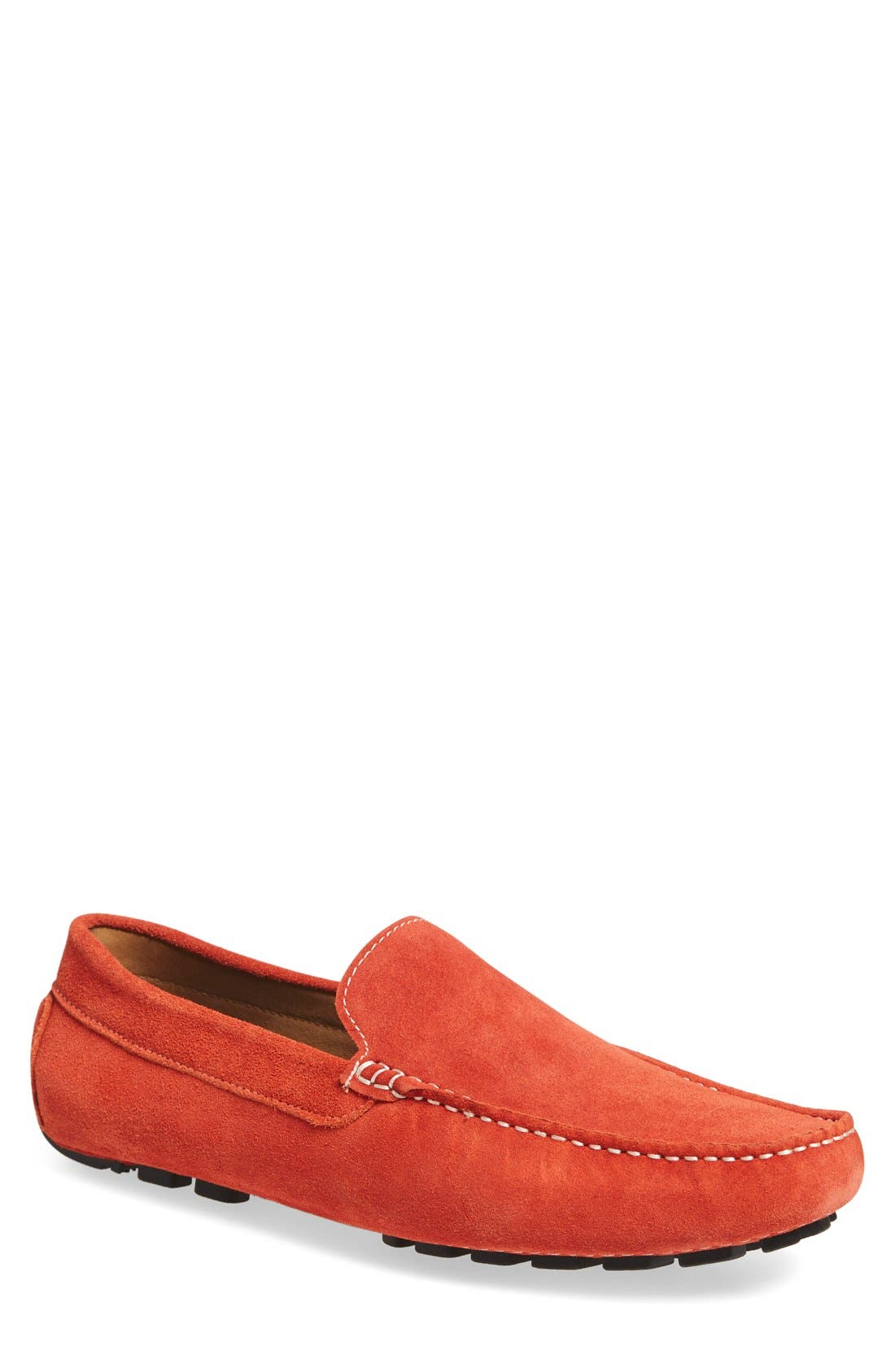 'Picasso' Slip-On Driver,                             Main thumbnail 1, color,                             Orange Leather