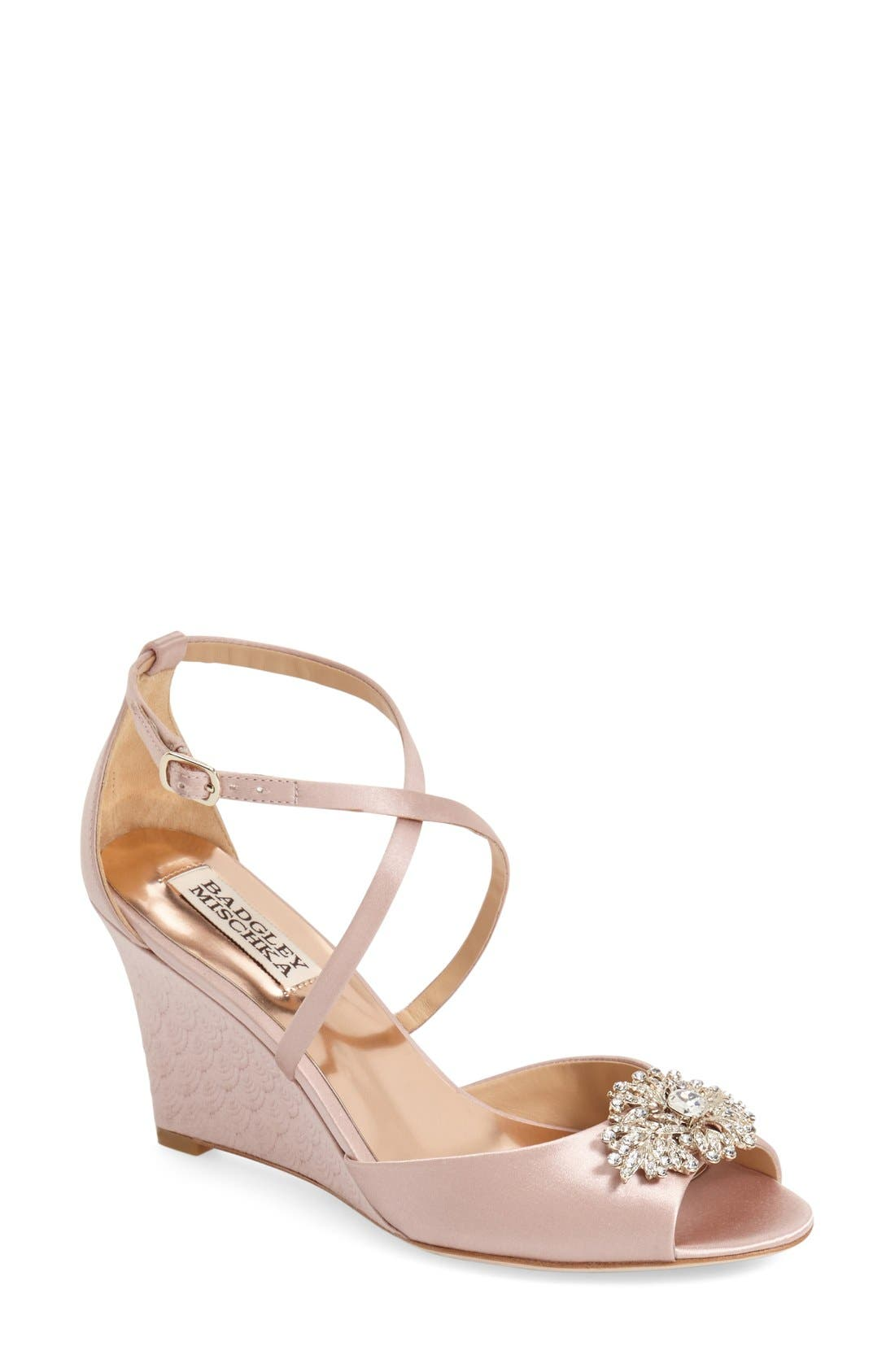 Badgley Mischka 'Abigail' Peep Toe Wedge (Women)