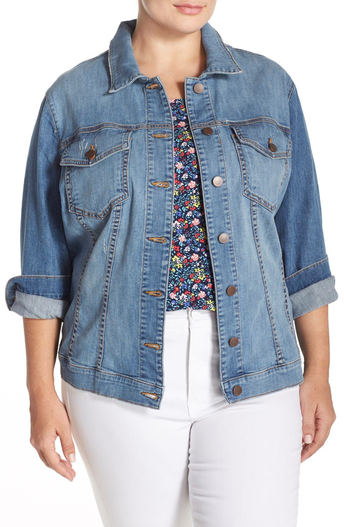 Alternate Image 4  - KUT from the Kloth Helena Distressed Denim Jacket (Plus Size)